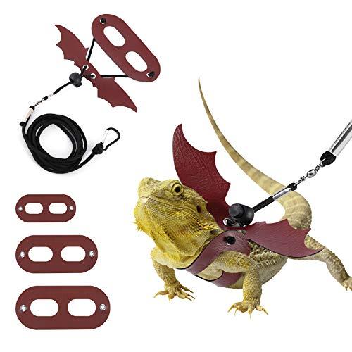 Lewondr Correa y Arnés de Dragón Barbudo, [3 Piezas] 3 Tamaños (S, M, L) Arneses Reptiles...